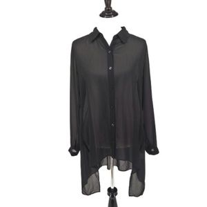 Susan Graver 10 Blouse Sheer Black Button Down